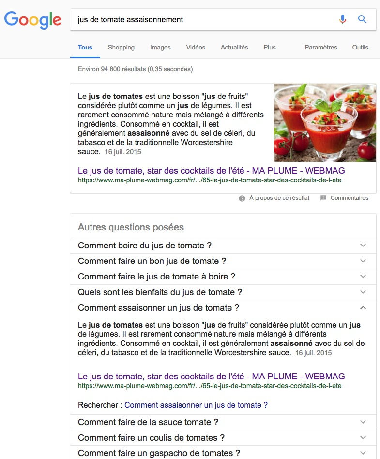 Google Featured Snippet - Requête :  jus de tomate assaisonnement