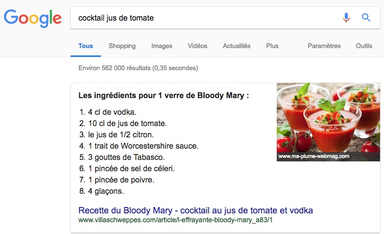 Google Featured Snippet - Requête :  cocktail jus de tomate